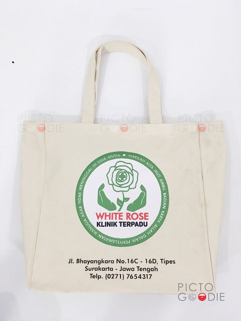 Tas Kanvas - White Rose